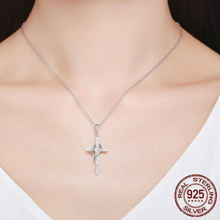 925 Sterling Silver Faith In Heart Cross Crystal Jewelry Pendant Necklace-Pendant Necklaces-TheWantsies.com