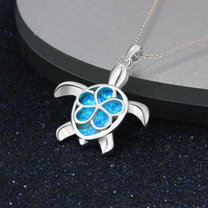 925 Sterling Silver Blue Opal Turtle Jewelry With Plum Flower Pendant Necklace-Jewelry-TheWantsies.com