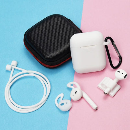 clear 6 in 1 Airpods Set- Shockproof Protective Silicone Case with Watch Strap, Earhooks, Carabiner, Anti-Lost Strap & Bag-Protective Cases for Airpods-TheWantsies.com