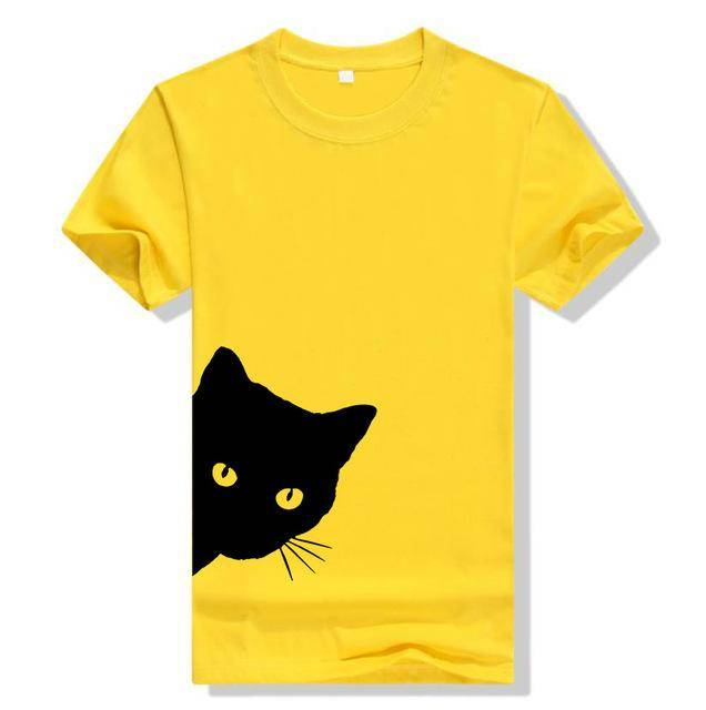 Yellow Women's Sneaky Spy Cat Looking Outside T-shirt-T-Shirts-XXS-TheWantsies.com