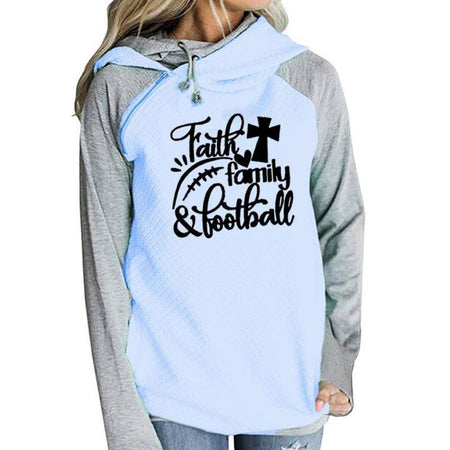 White Women's Faith Family & Football Pullover Hoodie Sweatshirt-Hoodies & Sweatshirts-S-TheWantsies.com