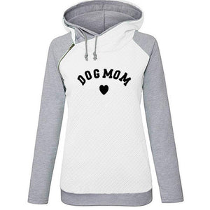 White Women's Dog Mom Heart Pullover Hoodie Sweatshirt-clothing-S-TheWantsies.com