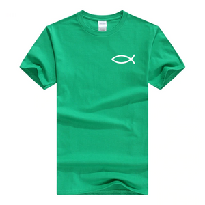 x-Green-b Men's Faith Christian Jesus Fish Ichthys T-Shirt-T-Shirts-M-TheWantsies.com