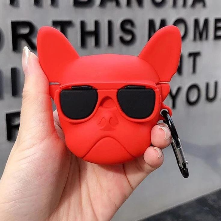 red Cool Pet French Bulldog with Sunglasses Silicone Shockproof Protective Case For AirPods-Protective Cases for Airpods-TheWantsies.com