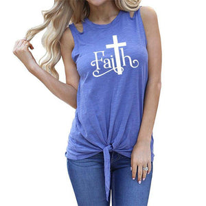 "Blue Women's Faith with Cross ""T"" Tank Top Sleeveless T-Shirt-T-shirts-S-TheWantsies.com"