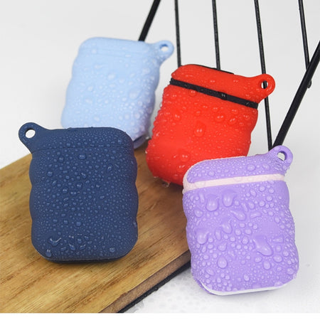 Purple Grey Waterproof Ear Phone Silicone Shockproof Protective Case For AirPods with Carabiner-Protective Cases for Airpods-TheWantsies.com
