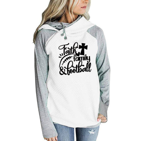 Women's Faith Family & Football Pullover Hoodie Sweatshirt-Hoodies & Sweatshirts-TheWantsies.com