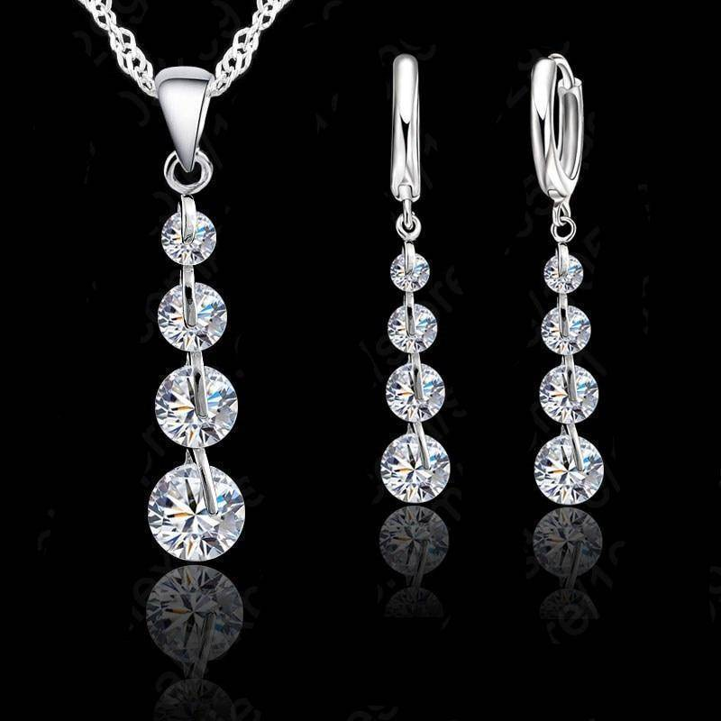 925 Sterling Silver Four Crystals Drop Necklace & Earrings Jewelry Set-Jewelry-TheWantsies.com