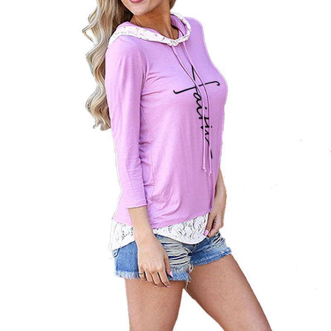 Women's Faith Hoodie with Lace Trim-Hoodies & Sweatshirts-TheWantsies.com