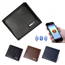 Black Men's Bluetooth Smart Leather Wallet with Anti-lost Anti-theft GPS-Locator-Wallets-TheWantsies.com
