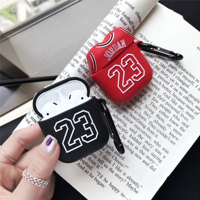 Basketball Jersey 23 Shockproof Protective Case For AirPods 1 & 2 with Carabiner-Protective Cases for Airpods-TheWantsies.com
