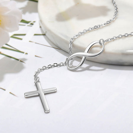 925 Sterling Silver Faith Infinity Cross Necklace Christian Jewelry-Necklaces-TheWantsies.com