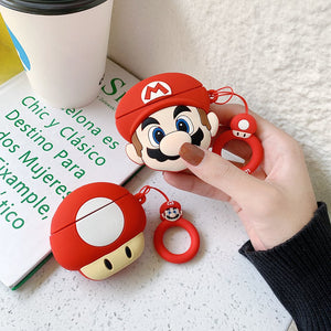 Super Mario Bros Mushroom Silicone Shockproof Protective Case For AirPods 1 & 2 with Ring-Protective Cases for Airpods-TheWantsies.com