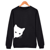 Women's Sneaky Spy Cat Looking Outside Sweatshirt-Hoodies & Sweatshirts-TheWantsies.com