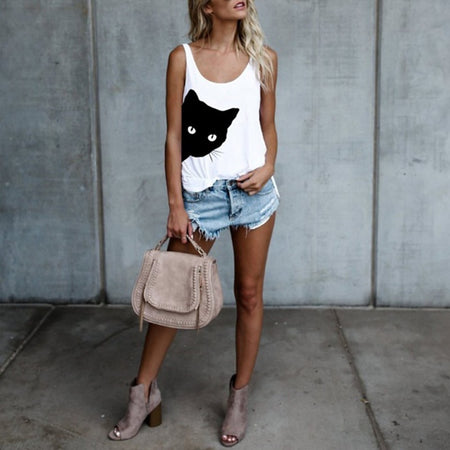 White Women's Sneaky Spy Cat Looking Outside Tank Top-Tank Tops-M-TheWantsies.com