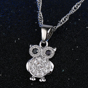 925 Sterling Silver Crystal Bling Owl Pendant Necklace with Earrings Jewelry Set-Jewelry Sets-TheWantsies.com