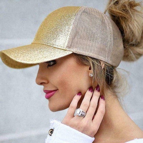 WantsieFit Glitter Bling Ponytail Baseball Cap Visor Hat-clothing-TheWantsies.com