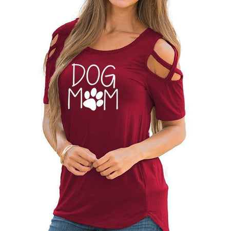 Black Women's Dog Mom with Paw Print T-Shirt with Cut-Out Shoulders-T-Shirts-S-TheWantsies.com