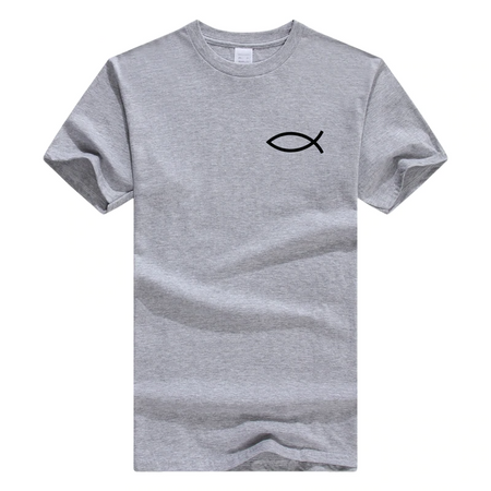 x-gray Men's Faith Christian Jesus Fish Ichthys T-Shirt-T-Shirts-M-TheWantsies.com
