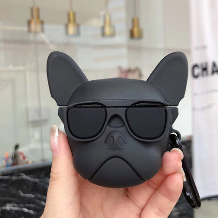black Cool Pet French Bulldog with Sunglasses Silicone Shockproof Protective Case For AirPods-Protective Cases for Airpods-TheWantsies.com