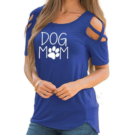 Women's Dog Mom with Paw Print T-Shirt with Cut-Out Shoulders-T-Shirts-TheWantsies.com