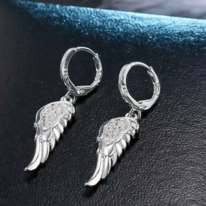 925 Sterling Silver Crystal Angel Wings Pendant Necklace and Earrings Jewelry Set-Jewelry Sets-TheWantsies.com