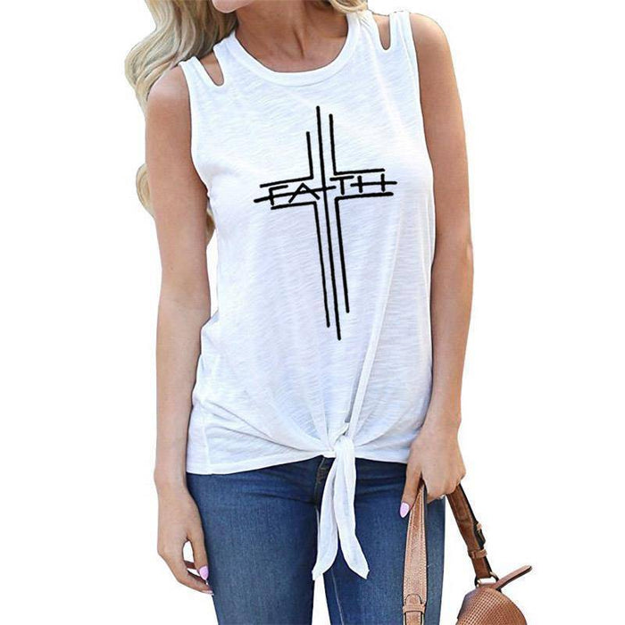 White Women's Cross Faith Tank Top Sleeveless T-Shirt-T-shirts-S-TheWantsies.com