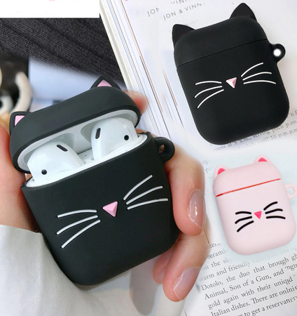 Kitty Cat Whiskers Silicone Shockproof Protective Case For AirPods with Ring-Protective Cases for Airpods-TheWantsies.com