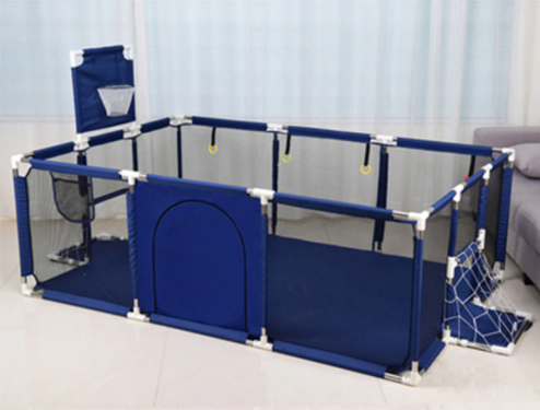 Baby Kids Playpen for Children with Basketball and Soccer Goal-TheWantsies.com