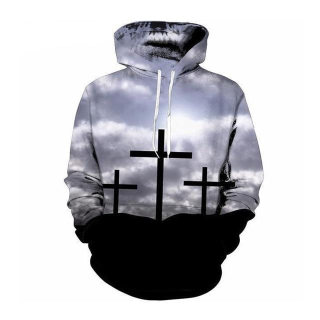 Wantsies Three Crosses Hoodie Sweatshirt-Hoodies & Sweatshirts-TheWantsies.com