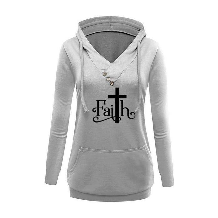 Women's Faith with Cross V-Neck Pullover Hoodie Sweatshirt-Hoodies & Sweatshirts-TheWantsies.com