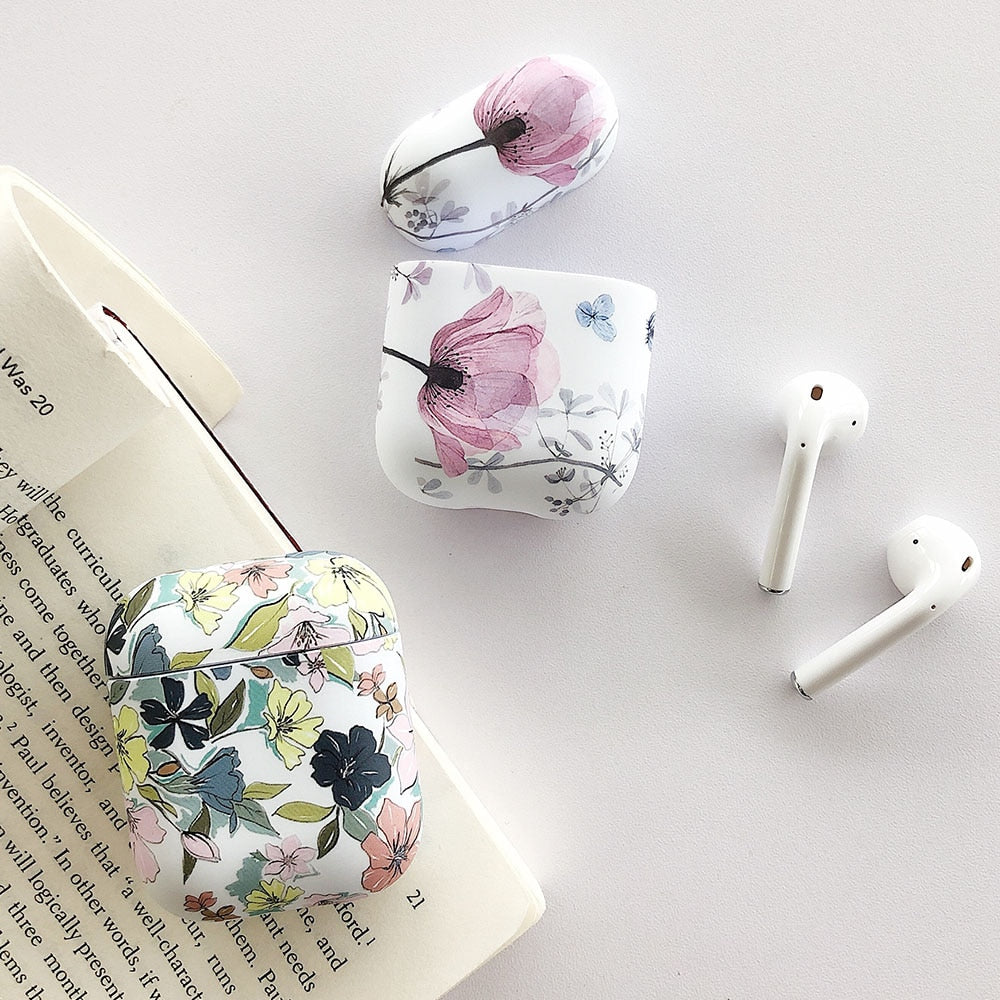 Vintage Art Floral Flower Pattern Protective Shockproof Soft or Hard Case For AirPods 1 & 2-Protective Cases for Airpods-TheWantsies.com