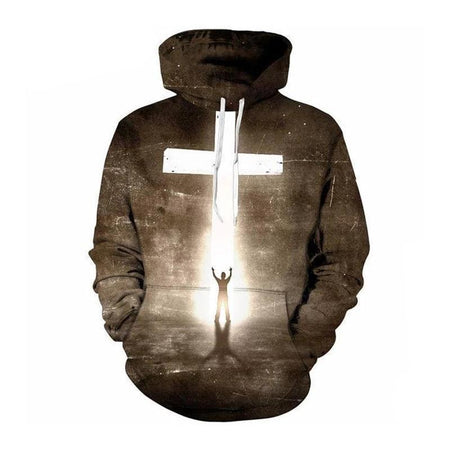 Wantsies In The Light Jesus Cross Hoodie Sweatshirt-Hoodies & Sweatshirts-TheWantsies.com