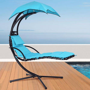 Hanging Chaise Lounge Chair with Stand and Canopy Sun Shade - Blue-Summer-TheWantsies.com