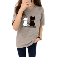 H Wantsies Women's Black and White Two Cats Love Tee Tshirt-T-Shirts-M-TheWantsies.com