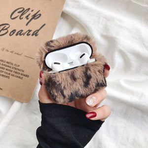 Grey Designer Leopard Skin Soft Fur Protective Case For AirPods Pro with Carabiner-Protective Cases for Airpods-TheWantsies.com