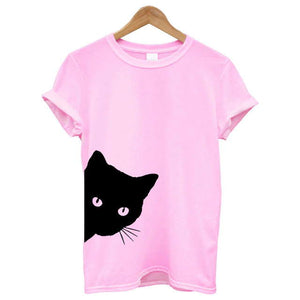 Pink Women's Sneaky Spy Cat Looking Outside T-shirt-T-Shirts-XXS-TheWantsies.com