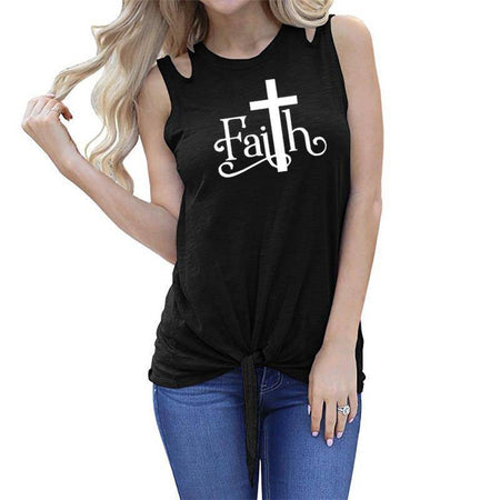 "Black Women's Faith with Cross ""T"" Tank Top Sleeveless T-Shirt-T-shirts-S-TheWantsies.com"
