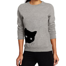 Gray Women's Sneaky Spy Cat Looking Outside Sweatshirt-Hoodies & Sweatshirts-S-TheWantsies.com