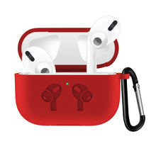 Red Waterproof Silicone Shockproof Protective Case For AirPods Pro with Carabiner-Protective Cases for Airpods-TheWantsies.com