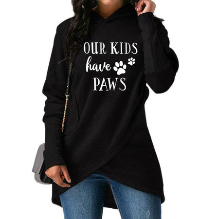 "Red Women's ""Our Kids Have Paws"" Hoodie Sweatshirt-Hoodies & Sweatshirts-S-TheWantsies.com"