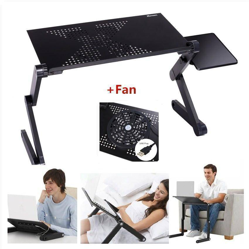 Black Laptop Folding Standing Desk Pro with Mouse Tray and Cooling Fan for Tablets, Chromebooks, and Ipads-Home-TheWantsies.com