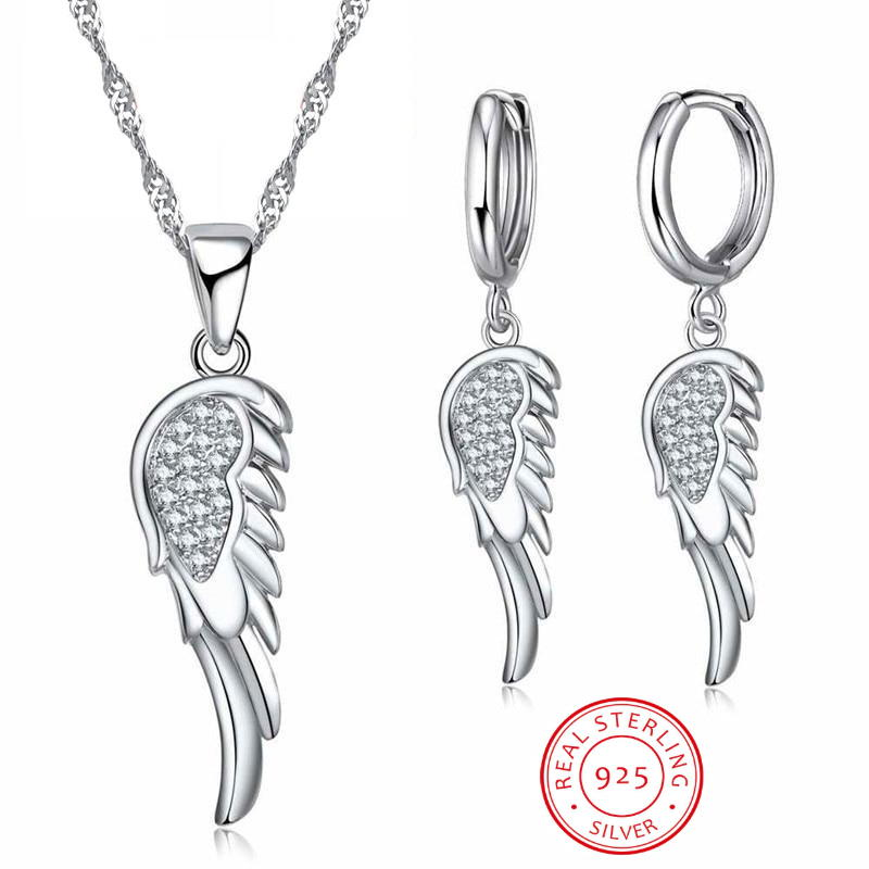Angel Wing Crystal Pendant Chain Necklace 925 Sterling Silver Womens Jewellery