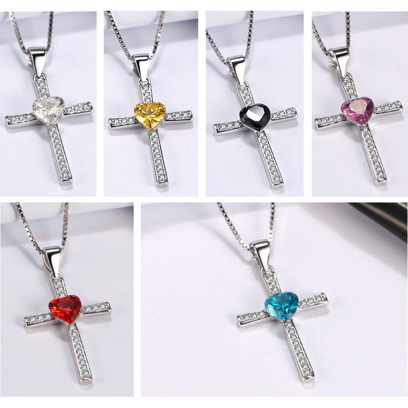 925 Sterling Silver Faith Heart Cross Crystal Jewelry Pendant Necklace-Pendants-TheWantsies.com