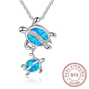 925 Sterling Silver Two Sea Turtles Pendant Necklace with Blue Opal and Clear Crystals-Jewelry-TheWantsies.com