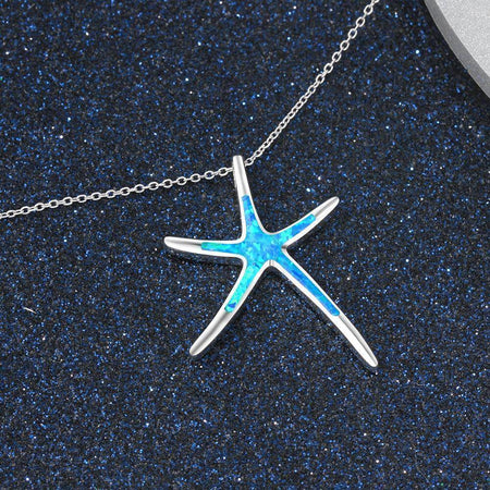 925 Sterling Silver Blue Opal Starfish Jewelry Pendant Necklace-Jewelry-TheWantsies.com