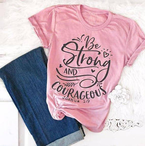 "Pink - black txt Women's ""Be Strong and Courageous"" Joshua 1:9 Bible Verse T-Shirt-T-Shirts-S-TheWantsies.com"
