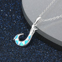925 Sterling Silver Fishing Hook Pendant Necklace with Blue Opal-Jewelry-TheWantsies.com
