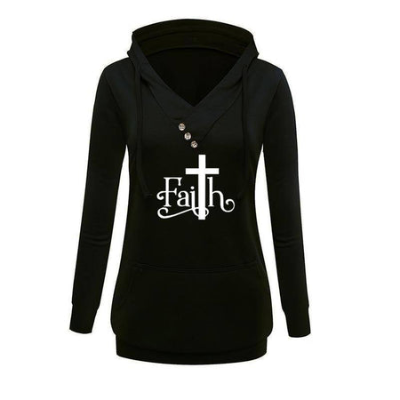 Gray Women's Faith with Cross V-Neck Pullover Hoodie Sweatshirt-Hoodies & Sweatshirts-M-TheWantsies.com