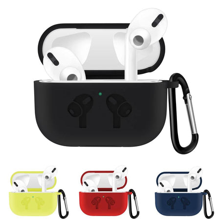 Black 3 Waterproof Silicone Shockproof Protective Case For AirPods Pro with Carabiner-Protective Cases for Airpods-TheWantsies.com